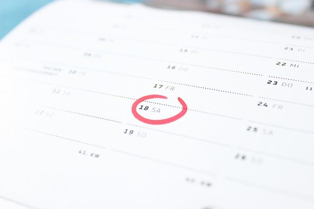 A monthly calendar with the date circled.